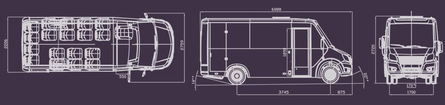 Схема пассажирского автобуса Газель Некст